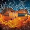 Conception graphique : un violon flanqué d'eau d'un côté et de feu de l'autre