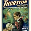 Le magicien Thurston, regarde les esprits sortir d'un crâne, sur son affiche. de 1915