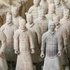 Vue sur une quinzaine de soldats de l'armée de terre cuite construite pour le tombeau de l'empereur chinois Qin Shi Huang.