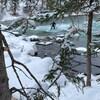 Surfeur sur rivière l'hiver.