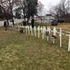 Des croix blanches plantée sur un terrain.