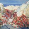 Portion d'une peinture intitulée <i>Tranchée de la somme</i> (1919), montrant un paysage de fleurs rouges.