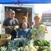 Les quatre personnes tiennent des légumes dans leurs mains devant une table remplie de légumes.