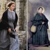 Kate est en robe d'époque, opposée à un portrait peint de Mary.