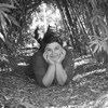 Marie Lacrampe sourit, couchée au sol sous une arche de bambou.