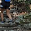 Un randonneur monte des marches du sentier Grouse Grind. C'est une photo de lui de dos qui met en évidence ses jambes.