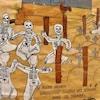 Un dessin de squelettes qui dansent dans un cimetière.
