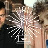 À gauche : portrait de Rafaël Ouellet. À droite : le jeune acteur Zain Al Rafeea, dans le film «Capharnaüm». En superimposition : une illustration d'une statuette d'Oscar.