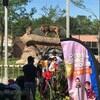 Un drapeau de l'émission Près de chez vous flotte devant l'enclos de deux lions.