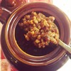 Une cuillerée de fèves au lard.