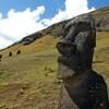 Statues de pierre sur l'île de Pâques.