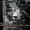Vue à vol d'oiseau de la destruction causée par la tornade de 1972 à Maniwaki.