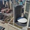 L'hôtel de ville de Toronto et ses rues alentour vides, photographiés en vue aérienne pendant la pandémie de COVID-19.