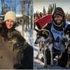 Dans un collage photo, on voit Katherine Langlais, Rémy Leduc et Marianne entourés de chiens de traîneaux
