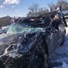 La voiture impliquée dans l'accident.