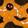 Illustration d'un parcours d'Halloween incluant un fantôme, un crâne, une chauve-souris et une citrouille.