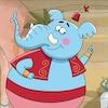 Génie, l'éléphanteau bleu, est bien content. Il a une nouvelle idée à proposer à ses amis qui résoudra sans doute leur problème.