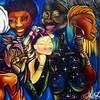 Une peinture acrylique très colorée et représentant des femmes noires.