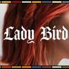 L'affiche du film: le titre Lady Bird apparaît sur le visage de profil et en gros plan d'une jeune fille rousse.