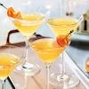 Des verres à martini contenant un breuvage orange et garnis de tranches fines d'agrumes.