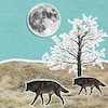 Ils marchent sur les terres et on voit la lune.