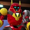 Gros plan sur un robot rouge aux yeux verts.