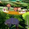 Les enfants sont en canot volant et transporte un hippopotame.