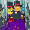 Tudi, Chirp et Scouac sont dans un labyrinthe de miroirs. Tudi est devant suivi de ses deux amis derrière lui qui semblent inquiets. Ils sont en habit de smoking avec un noeud papillon rouge.