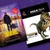 On voit trois affiches de films présentés à l'IMAX : Momies, Aventures musicales et Dinosaures 3D