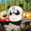Ollie et Moon sont dans les bras d'un panda.