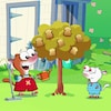 YaYa est Zouk sont dans le jardin et se tiennent près d'un arbre où sont suspendus des tranches de pain. YaYa tient un arrosoir et donne des explications à Zouk.