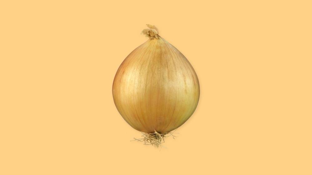 Un oignon entier avec la peau.