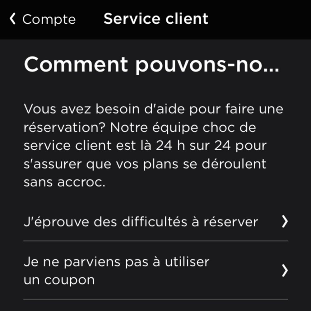 Capture d'écran de la section « Service client » de l'appli.