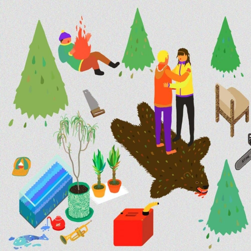 L'amour, une estampe numérique de Charles-Étienne Brochu, disponible sur Art Bang Bang. Très coloré, on y distingue un couple debout sur une peau d'ours brun.