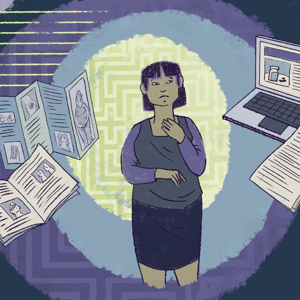 Une illustration d'une femme prise dans un tourbillon d'informations.