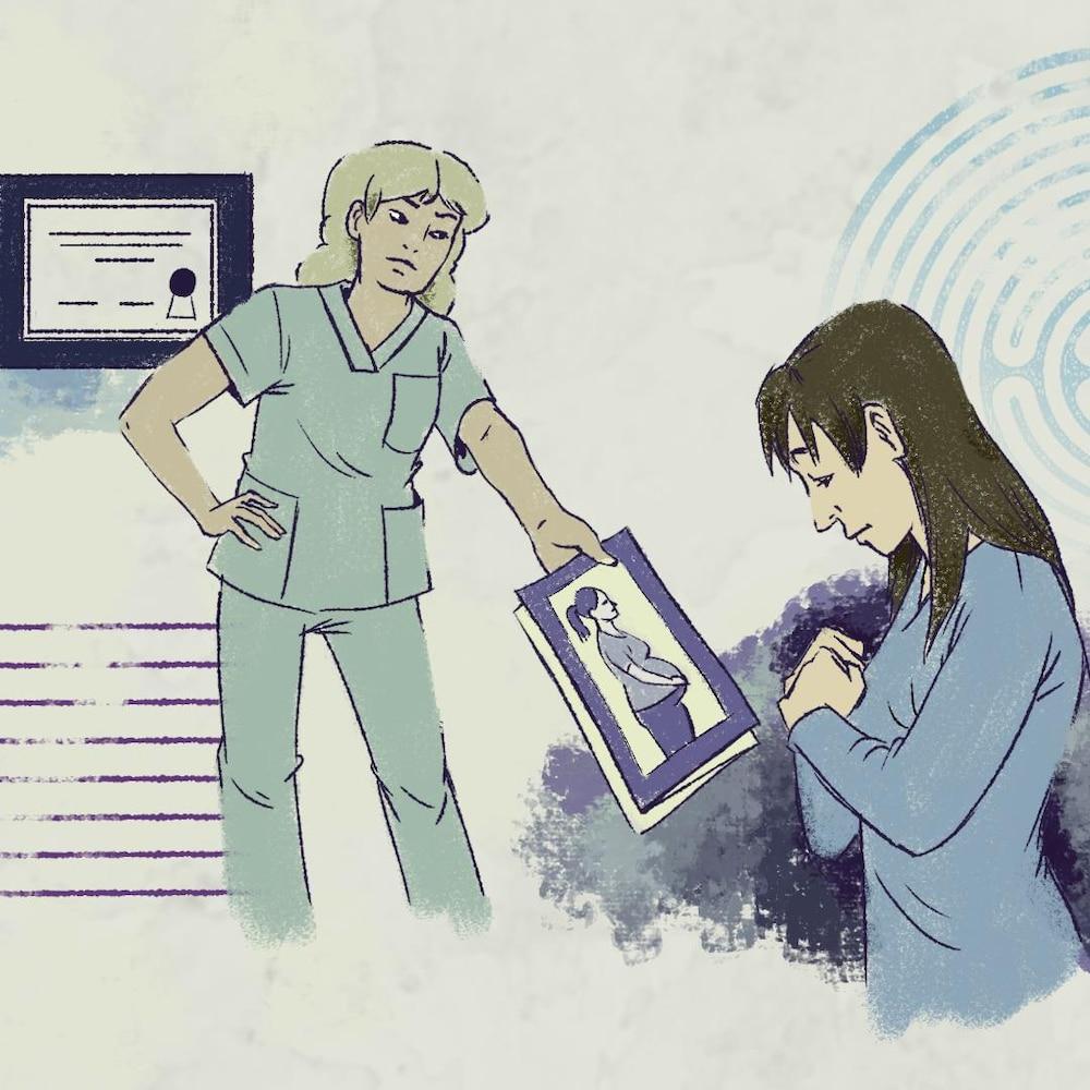Une illustration d'une infirmière qui remet un document à une femme qui semble mal à l'aise.