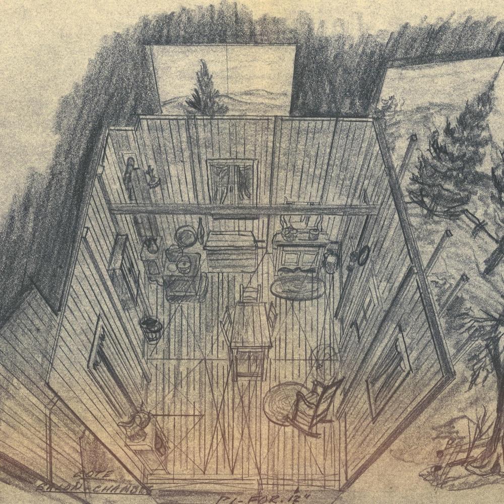 Dessin au crayon de plomb d'une cuisine d'antan dans un décor pour la télévision.