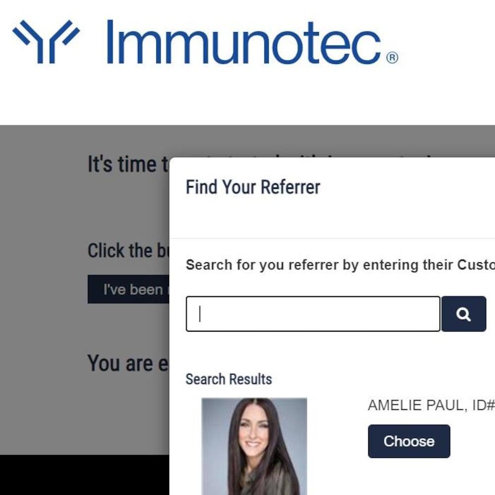 Capture du site Web d'Immunotec.