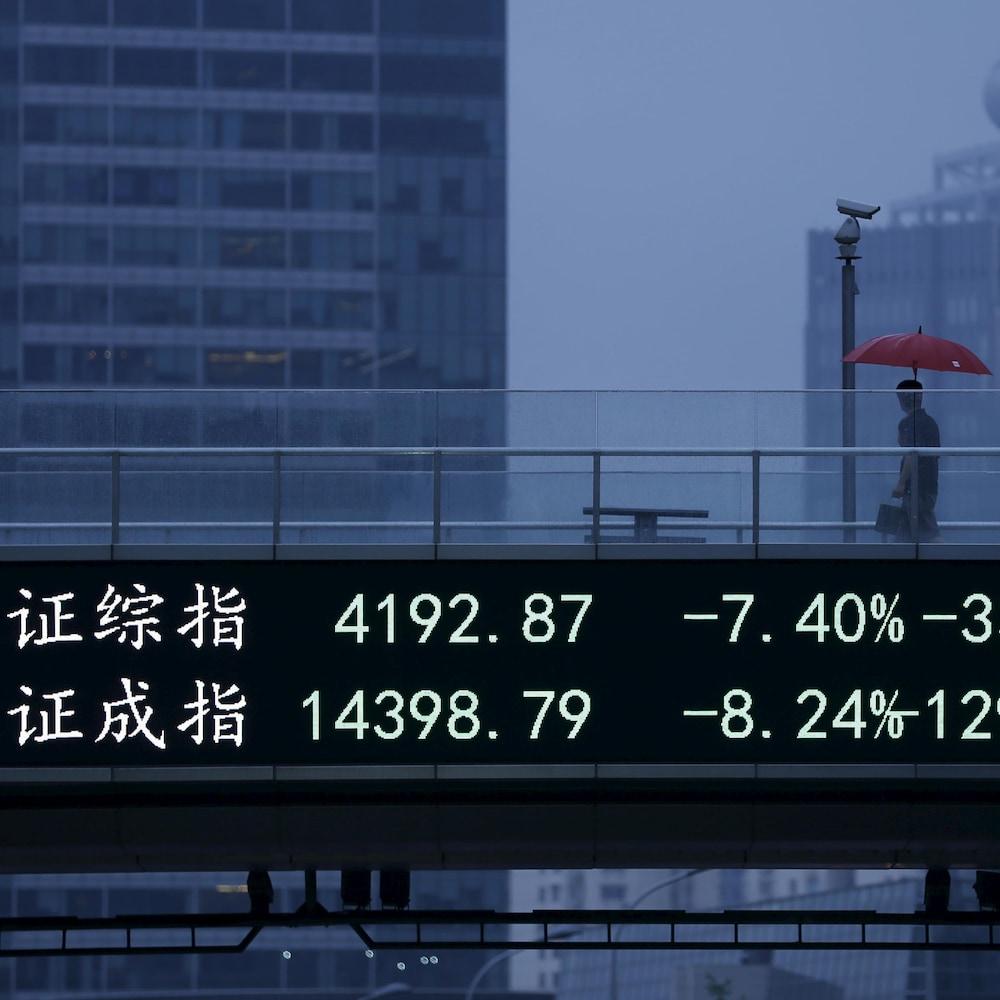 Un tableau électronique indiquant les indices boursiers de Shanghai et de Shenzhen.