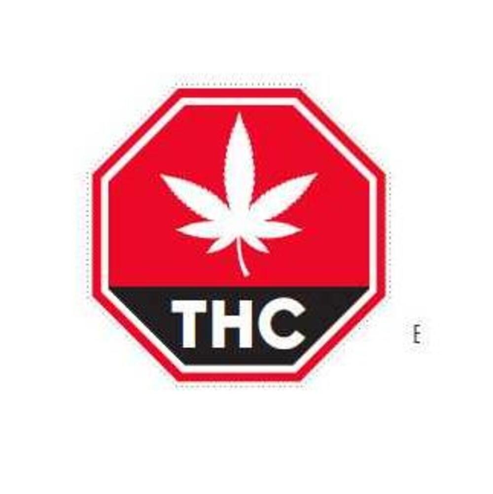 Octogone rouge avec une feuille de cannabis et les lettres THC.