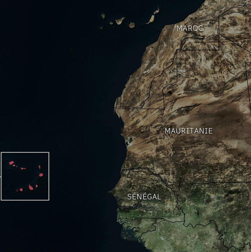 Carte sur laquelle on voit où se trouve le Cap-Vert par rapport au continent africain.