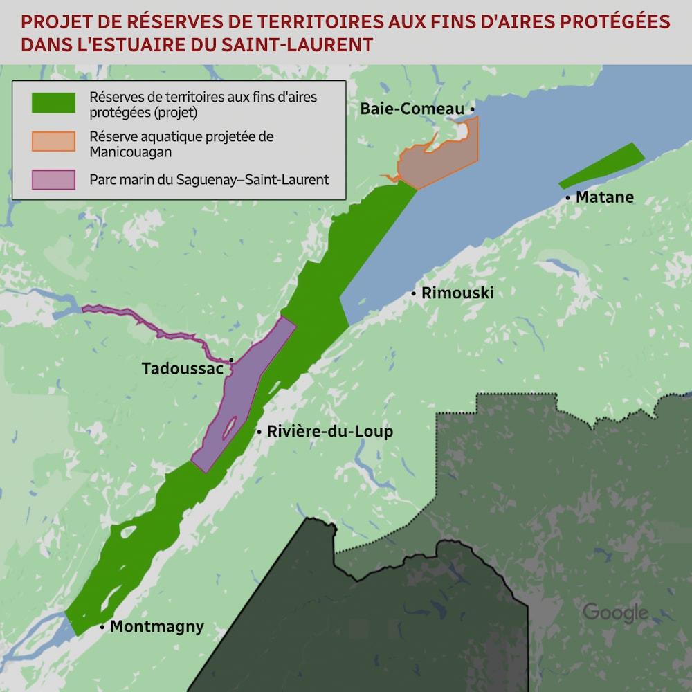 Carte des projets de réserves de territoires aux fins d'aires protégées dans l'estuaire du Saint-Laurent.