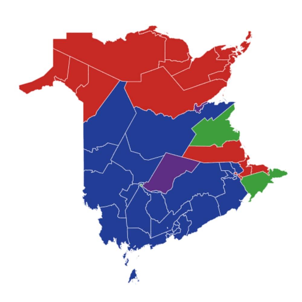 Le Nouveau-Brunswick est divisé entre le Nord et le Sud et entre les francophones et les anglophones.