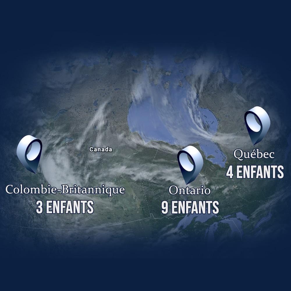 Une carte du Canada démontrant qu'il y a au moins 3 enfants du Dr Barwin en Colombie-Britannique, 9 en Ontario et 4 au Québec.