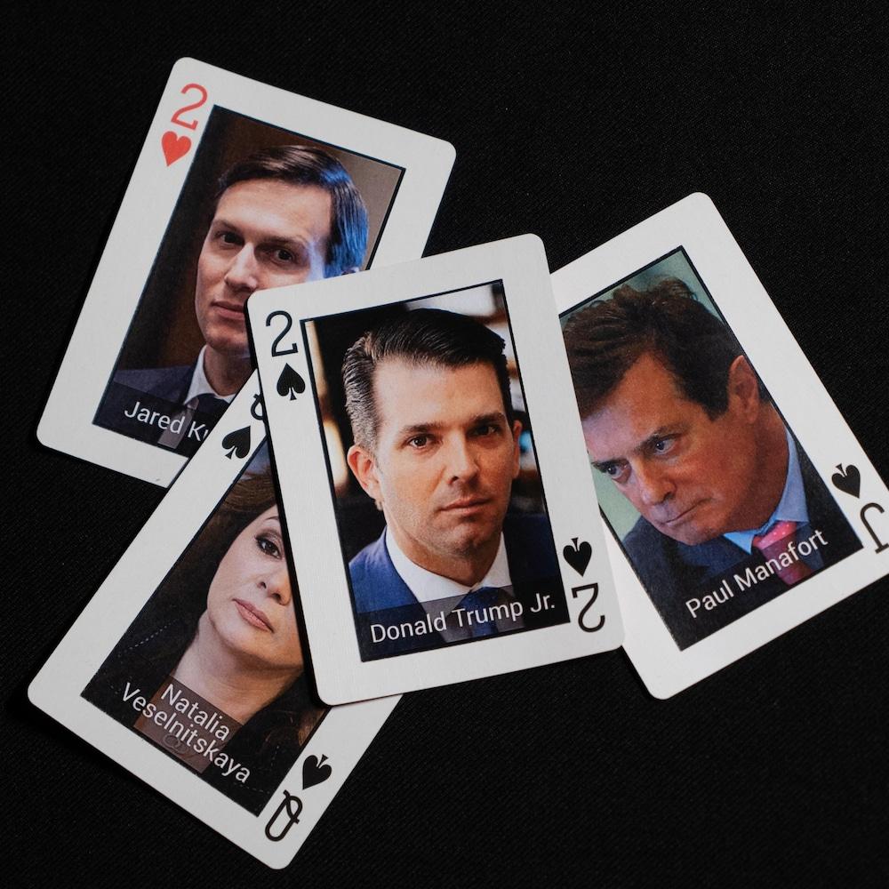 Cartes de Donald Trump fils, Jared Kushner, Paul Manafort et Natalia Veselnitskaya