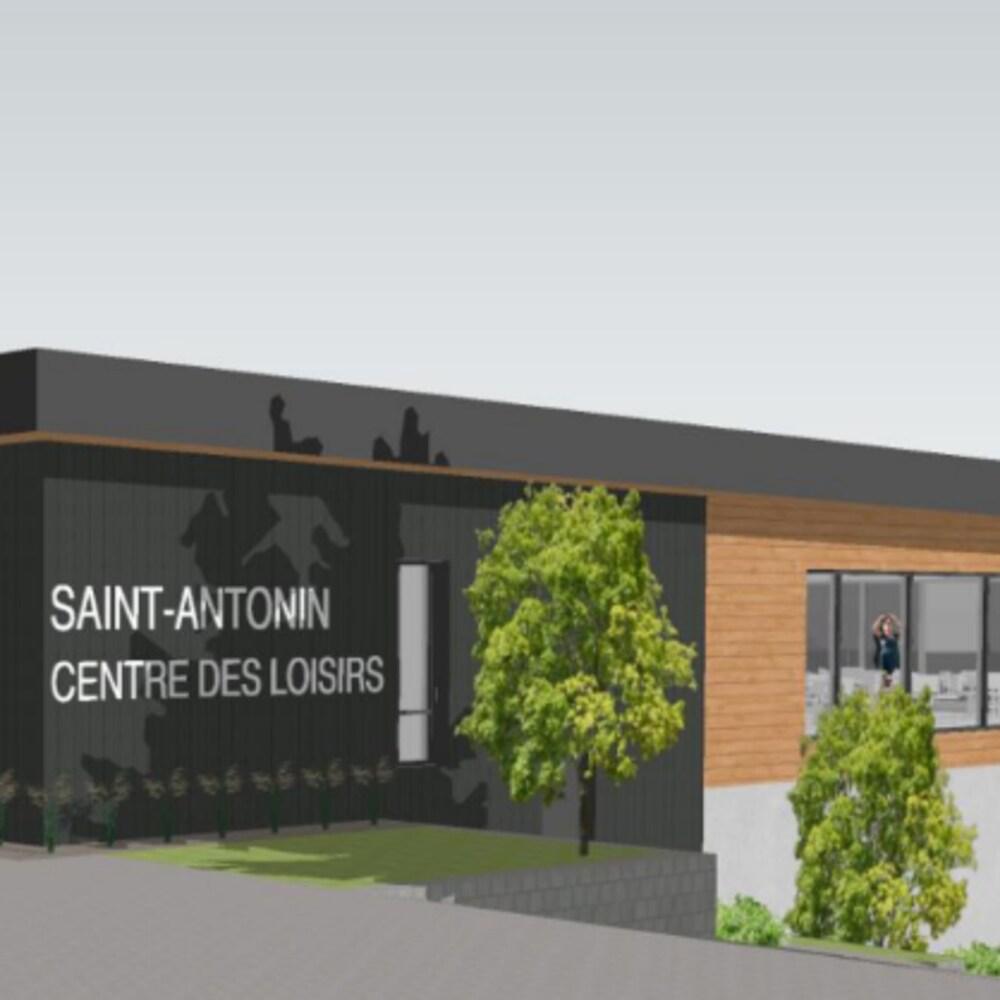 Vue de face du projet de centre sportif de Saint-Antonin, tel que présenté à la population le 12 février 2020.