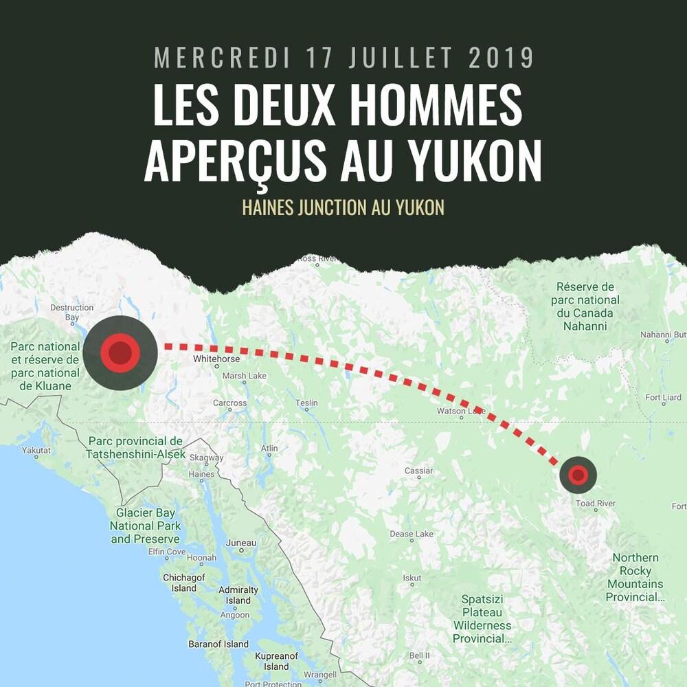 Les deux hommes aperçus au Yukon  DATE : Mercredi 17 juillet 2019 LIEU : Haines Junction, Yukon