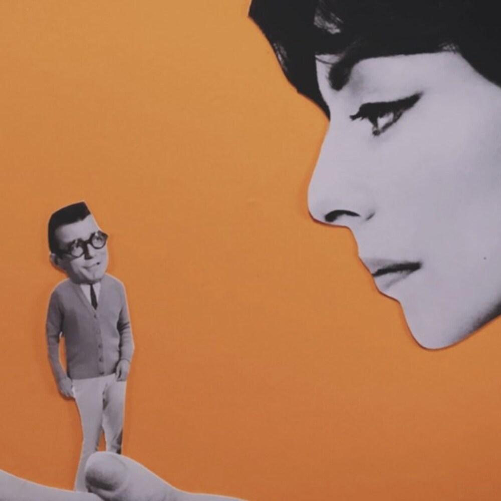 Collage du visage d'une femme qui tient dans ses mains, un homme plus petit.