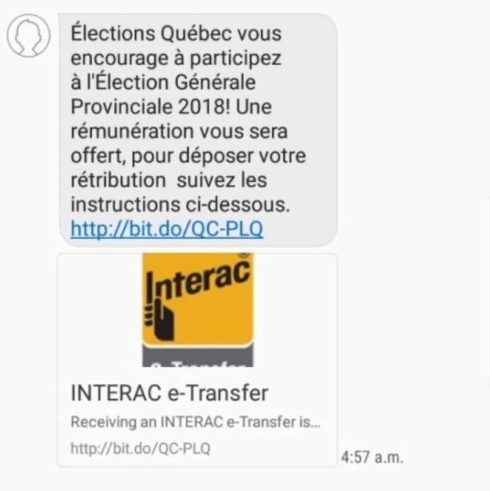 Une capture d'écran montre un message texte qui promet une rémunération en échange d'un vote.