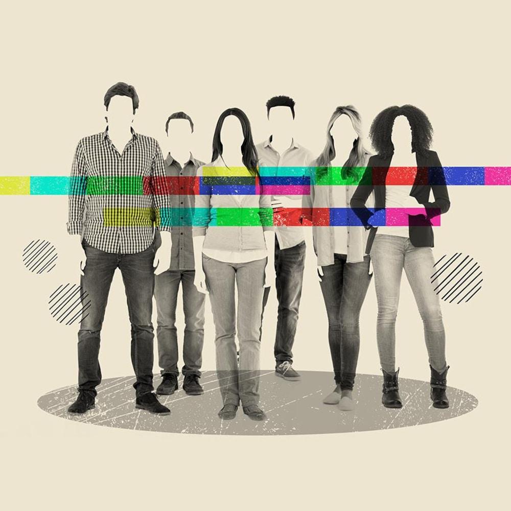 Dessin de plusieurs personnes sans visages derrière des barres de couleurs